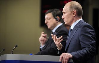 Председатель Еврокомиссии Жозе Мануэл Баррозу и президент России Владимир Путин