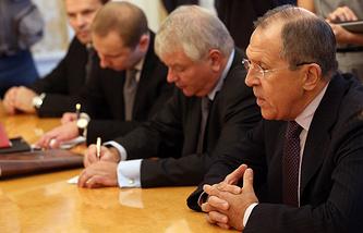 Минитср иностранных дел Сергей Лавров во время встречи с председателем Парламентской Ассамблеи ОБСЕ Илккой Канервой
