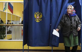 На избирательном участке в Новосибирске во время единого дня голосования