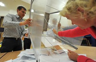 Подсчет голосов на выборах губернатора Новосибирской области