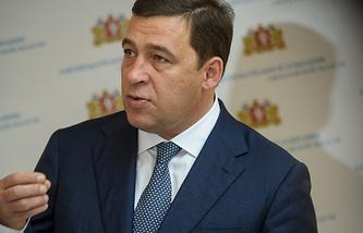 Губернатор Свердловской области Евгений Куйвашев после выступления с бюджетным посланием в региональном Заксобрании
