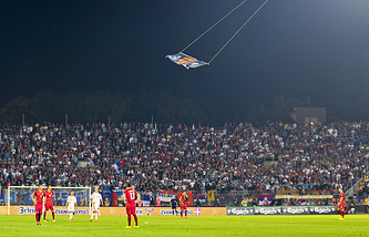 Дрон на матче между сборными Сербии и Албании