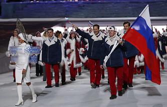 Сборная России на церемонии открытия Олимпийских игр-2014 в Сочи