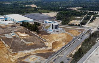Вид на строительную площадку космодрома Восточный