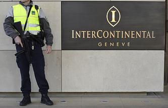Отель Intercontinental Geneve, где проходили переговоры 17 апреля