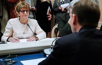 Председатель Парламентской ассамблеи Совета Европы (ПАСЕ) Анн Брассер на встрече со спикером Государственной думы РФ Сергеем Нарышкиным