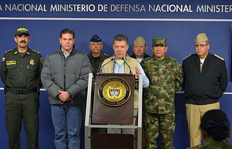 Президент Колумбии Хуан Мануэль Сантос (в центре)