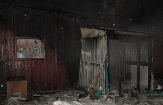 Частный дом в селе Ярково Тюменской области после пожара. 17 декабря 2014 года