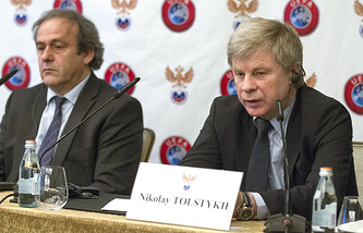Президент УЕФА Мишель Платини (слева) и глава РФС Николай Толстых