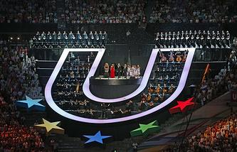 Фрагмент церемонии открытия XXVII Всемирной летней Универсиады 2013
