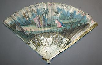 Веер с изображением евангельской сцены. Голландия, около 1760; пергамент, кость слоновая, металл, гуашь; роспись, резьба ажурная, гравировка, золочение.