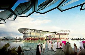 Макет Национального стадиона в Лусаиле