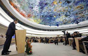 Глава МИД РФ Сергей Лавров на 19-й сессии Совета ООН по правам человека в Женеве