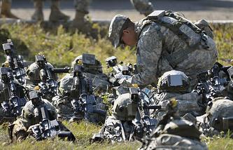 Американские военнослужащие во время учений в Львовской области
