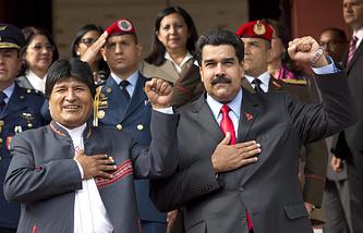 Президент Боливии Эво Моралес и президент Венесуэлы Николас Мадуро на саммите АЛБА