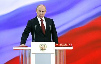 Президент России Владимир Путин на церемонии инаугурации в Андреевском зале Большого Кремлевского дворца, 7 мая 2012 года