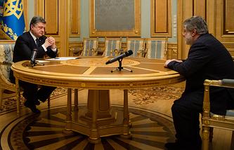 Президент Украины Петр Порошенко и губернатор Днепропетровской области Игорь Коломойский, 25 марта