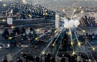 Во время массовых беспорядков на площади Независимости в Киеве