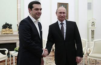 Премьер-министр Греции Алексис Ципрас и президент РФ Владимир Путин во время встречи в Кремле