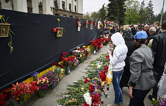 Траурные мероприятия в Одессе, посвященные годовщине жертв пожара в Доме профсоюзов