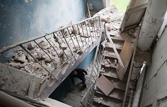 Последствия обстрелов Киевского района Донецка