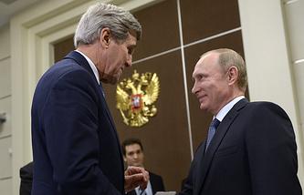 Госсекретарь США Джон Керри и президент России Владимир Путин