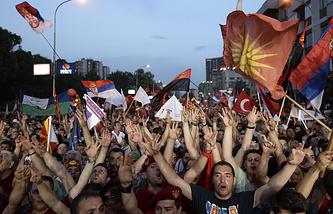 Акция сторонников правительства в столице Македонии