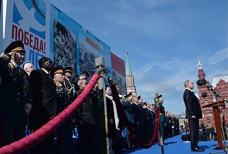 Президент России Владимир Путин во время военного парада на Красной площади, посвященного 70-й годовщине Победы в Великой Отечественной войне