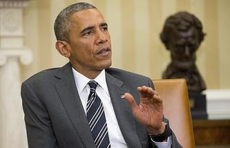 Президент США Барак Обама во время переговоров с генеральным секретарем НАТО Йенсом Столтенбергом