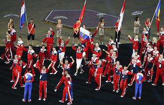 Российские спортсмены на церемонии закрытия Европейских игр в Баку