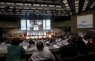 Во время Парламентской ассамблеи ОБСЕ в Женеве, 3 октября 2014 года