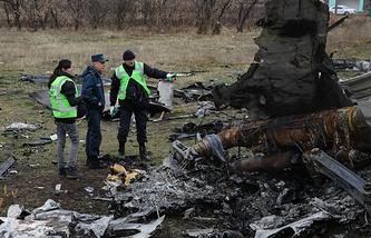 На месте крушения малазийского Boeing  под Донецком