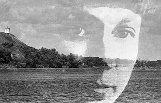 Портрет русской поэтессы Марины Цветаевой на фоне Чертова городища в Елабуге