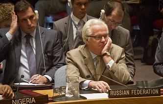 Постпред России Виталий Чуркин во время заседания Совбеза ООН 29 июля 2015 года