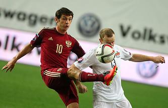 Эпизод из отборочного матча Евро-2016 между сборными России и Лихтенштейна