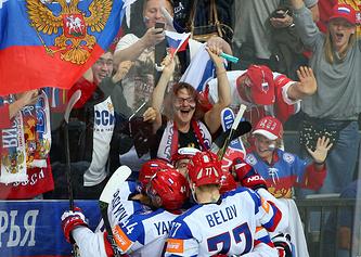 Хоккеисты и болельщики сборной России во время матча ЧМ-2015 в Чехии