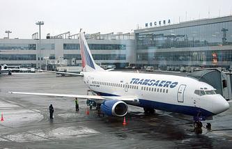 "Боинг 737 авиакомпании ""Трансаэро"" в аэропорту Домодедово"