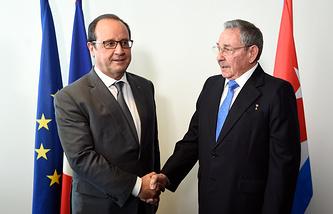 Франсуа Олланд и Рауль Кастро