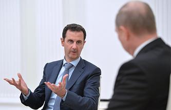 Президент Сирии Башар Асад и президент РФ Владимир Путин, октябрь 2015 года