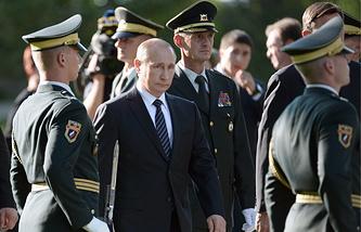 Владимир Путин на церемонии открытия памятника российским и советским воинам, погибшим на территории Словении в годы Первой и Второй мировых войн