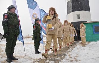 Церемония зажжения огня зимних Всемирных военных игр, Сахалинская область, 12 февраля