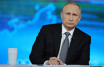 """Во время ежегодной """"Прямой линии с Владимиром Путиным"""", 2016 год"""