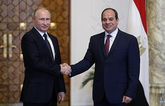Президент России Владимир Путин и президент Египта Абдель Фаттах ас-Сиси