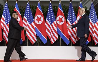Лидер КНДР Ким Чен Ын и президент США Дональд Трамп
