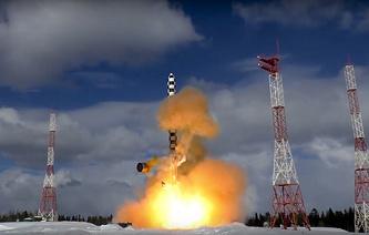 """Тестовый запуск межконтинентальной баллистической ракеты """"Сармат"""""""