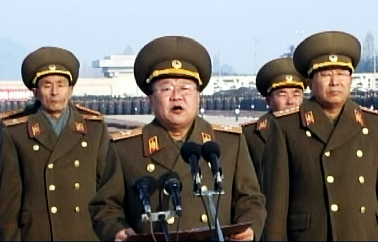 Head of the Main Political Directorate of the Korean People's Army (KPA) Choe Ryong Hae (C)