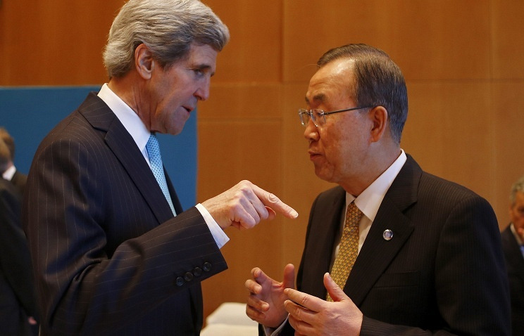 U.S. Secretary of State John Kerry and UN Secretary General Ban Ki Moon