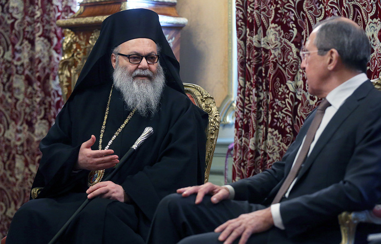 Patriarch John X of Antioch and Russia's Foreign Minister Sergei Lavrov