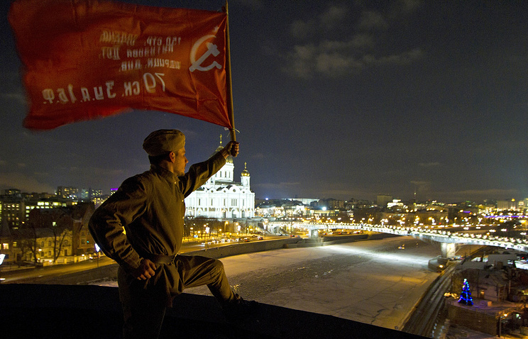 An action of protest on the roof of the Dozhd TV-channel's office building in Moscow