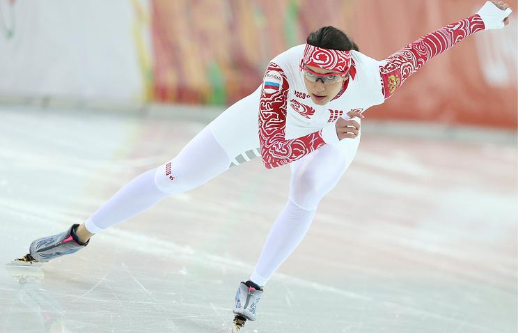 Russian speed skater Anna Chernova pictured during a training session at the Adler Arena Skating Centre